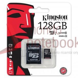 Micro SD Kingston 128 GB con adattatore CLASSE 10 45MB/S