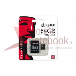 Micro SD Kingston 64 GB con adattatore CLASSE 10 45MB/S