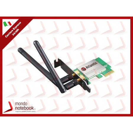 SCHEDA WIRELESS ATLANTIS A02-PCIE1-W300N PCI Express 300M 802.11n/g/b 2 antenne da Dbi