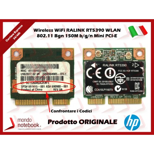 Scheda Wireless WiFi RALINK RT5390 WLAN 802.11 Bgn 150M b/g/n Mini PCI-E Card...