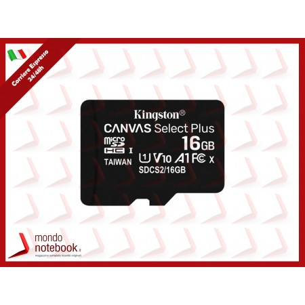 SD-MICRO KINGSTON  16GB CLASS 10 UHS-I 80MB/s + ADATTATORE Canvas Select Plus - SDCS2/16GB