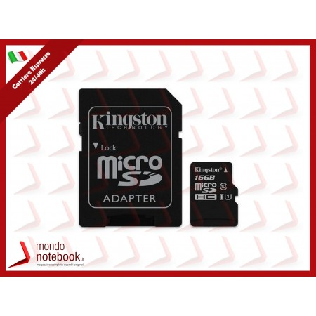 SD-MICRO KINGSTON  16GB incl. Adapter  CLASS 10 UHS-I 80MB/s + ADATTATORE Canvas Select...
