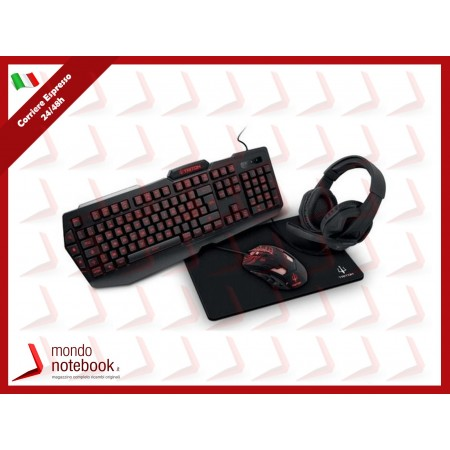 STARTER KIT GAMING TRITON by Atlantis KT410: TASTIERA RETROILLUM 3Colori + MOUSE...