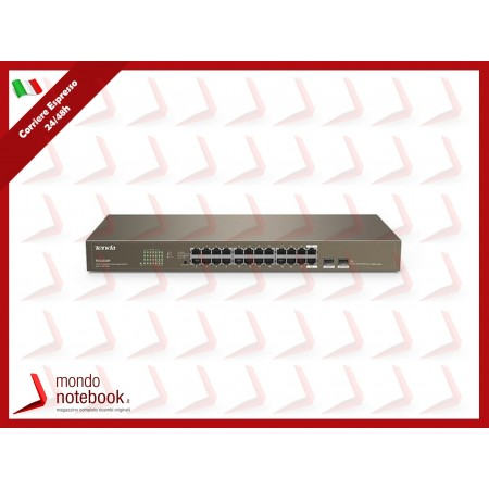 SWITCH TENDA TEG1024F 24P GIGABIT 10/100/1000 RJ45 +2 SFP Slots UNAMANAGED RACK