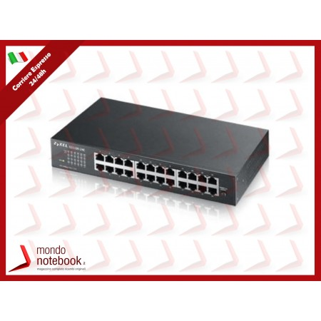 SWITCH ZYXEL GS-1100-24E 24P LAN GIGABIT, design senza ventole,UNMANAGED DESKTOP/RACK
