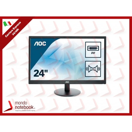 "MONITOR AOC LED 23.6"" Wide E2470SWDA 0,276 1920x1080 5ms 250cd/mq 1.000:1(20.000.000:1)..."