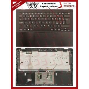 Tastiera con Top Case SONY Vaio Pro 13 SVP13A SVP132 (RETROILLUMINATA) con Adesivi...