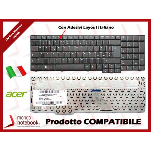 Tastiera Notebook ACER Aspire 5235 5735 6530 6930 9420 (NERO OPACO) (CON ADESIVI LAYOUT...