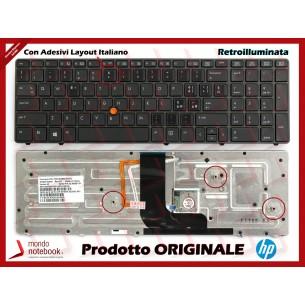 Tastiera Notebook HP Elitebook 8560W 8570W con Trackpoint (RETROILL) con Adesivi Layout...