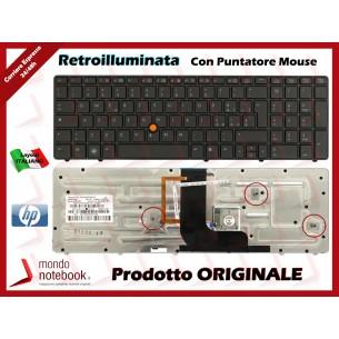 Tastiera Notebook HP Elitebook 8560W 8570W con Trackpoint Retroilluminata (Nera)