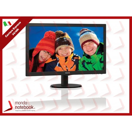 "MONITOR PHILIPS LED 23.6"" Wide 243V5LHAB/00 0.272 1920x1080 Full HD 1ms 250cd/m²..."
