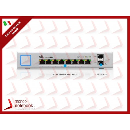 UniFi UBIQUITI Switch 8P LAN GIGABIT, 150Watt MANAGED 2P SFP -SUPP. POE - US-8-150W