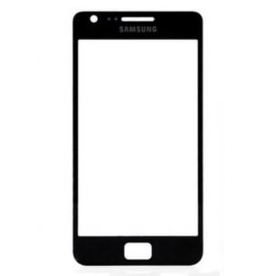 Vetro Vetrino per Smartphone SAMSUNG Galaxy S2 i9100 + BIADESIVO (Nero)