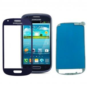 Vetro Vetrino per Smartphone SAMSUNG Galaxy S3 MINI i8190 + BIADESIVO (Nero)