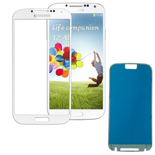 Vetro Vetrino per Smartphone SAMSUNG Galaxy S4 I9500 I9505 + BIADESIVO (BIANCO)