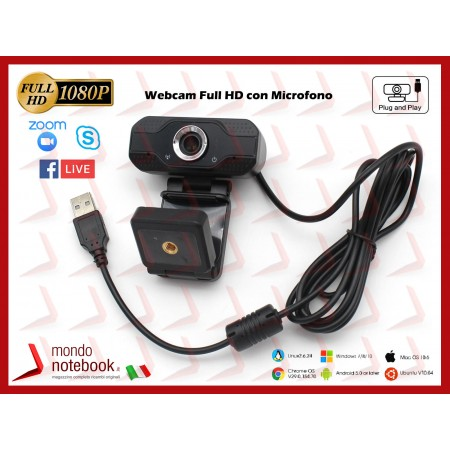 Webcam Risoluzione 1080p con Microfono VideoCamera Smart Working Cam