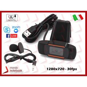Webcam Risoluzione 720p + Mic con Clip VideoCamera Smartworking per Skype