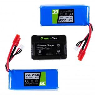 Zestaw 2 Baterie Green Cell per Syma X8C X8G X8HC X8HG X8HW X8W 7.4V 2000mAh + Ladowarka