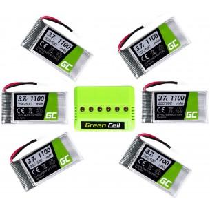 Zestaw 6 Baterii Green Cell per Syma X5SC X5SW 3.7V 1100mAh + Ladowarka