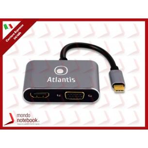 ADATTATORE ATLANTIS A04-TC_HDMI+VGA da USB TYPE_C a HDMI + VGA