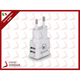ALIMENTATORE DI CORRENTE ATLANTIS P008-ST20-2.4A AC con doppia presa USB Erogazione max...