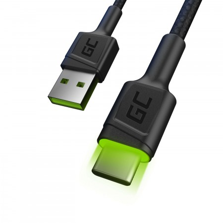 Cable Green Cell Ray USB Cable - USB-C 120cm with green LED backlight and support fast...