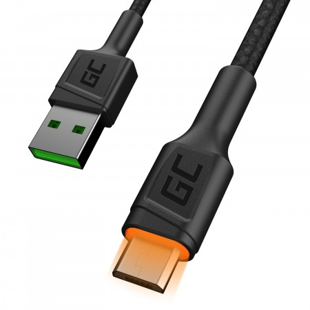 Cable Green Cell Ray USB-A - microUSB Yellow LED 120cm with support per Ultra Charge...