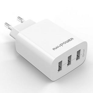 Caricatore USB da Muro a 3 Porte RAVPower (30W, 5V/6A), con Output Massima fino a 2.4A,...