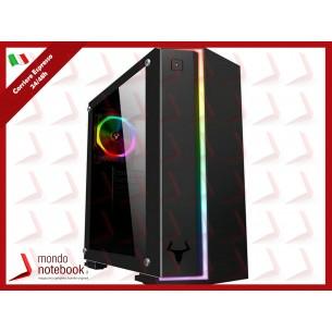 """CASE ITEK M.TOWER """"VERVE"""" 2*USB3, 12cm fan ARGB, Trasp Wind XL, Stirscia RGB FRONT -..."""