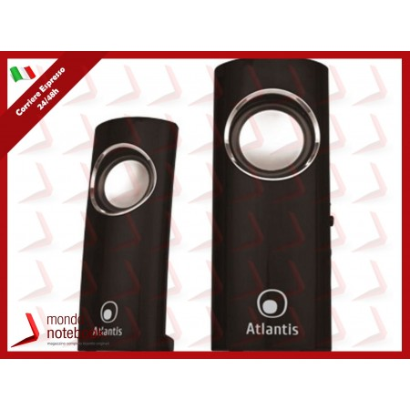 "CASSE ATLANTIS ""Soundpower 340"" 2.0 2W RMS, Elegante finitura high glossy Nero Lucido..."