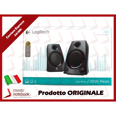 "CASSE SPEAKER LOGITECH ""Logitech Z130"" 2.0 5W RMS - 1 Ingresso - COMPATIBILITÀ APPLE..."