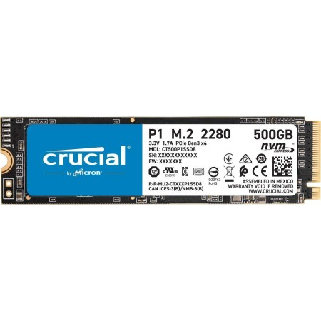 Crucial P1 500 GB CT500P1SSD8 SSD Interne Fino a 1900 MB/s, 3D NAND, NVMe, PCIe, M.2