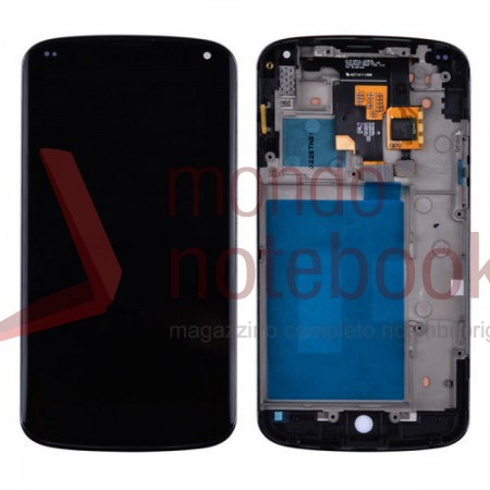 Display LCD con Touch Screen Compatibile LG Google Nexus 4 E960 con Frame