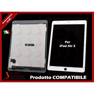 Display LCD con Touch Screen Compatibile per APPLE Ipad Air 2 iPad 6 (Bianco)