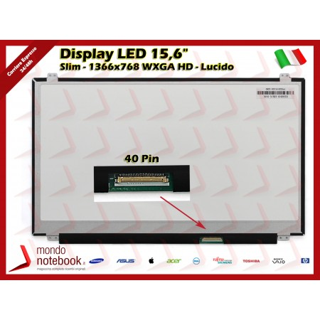 "Display LED 15,6"" (1366x768) WXGA HD (BRACKET SUP E INF) 40 Pin DX (LUCIDO)"