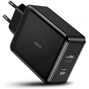 ESR Caricatore da Muro 2 Porte 30W (18W USB-C Power Delivery + 12W USB) Compatible con...