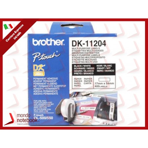 ETICHETTE BROTHER DK-11204 CONF.400PZ ADESIVE 17x54mm X QL-500 QL-550 QL-560 QL-570...