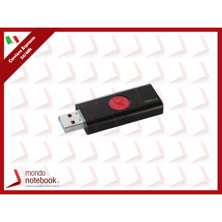 "FLASH DRIVE KINGSTON USB 3.0  32GB ""DT106/32GB ""- Read: 100MB/s NERO"