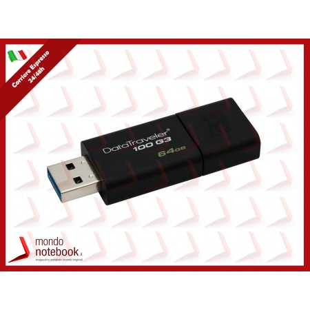 "FLASH DRIVE KINGSTON USB 3.0 64GB ""DataTraveler"" - DT100G3/64GB"