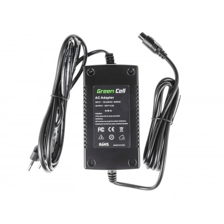 Green Cell Charger 42V 2A (3 pin) per EBIKE batteries 36V