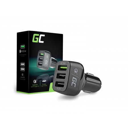 Green Cell In-Car Charger with 3xUSB and Quick Charge 3.0