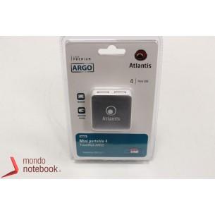 HUB ATLANTIS 4 porte USB 2.0. piccolo e portatile per PC e Notebook. cavo, finitura...