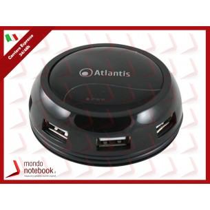 HUB USB 2.0 ATLANTIS DESKTOP 7 P014-GH902-B 7 Porte, Alimentatore AC in dotazione, Black