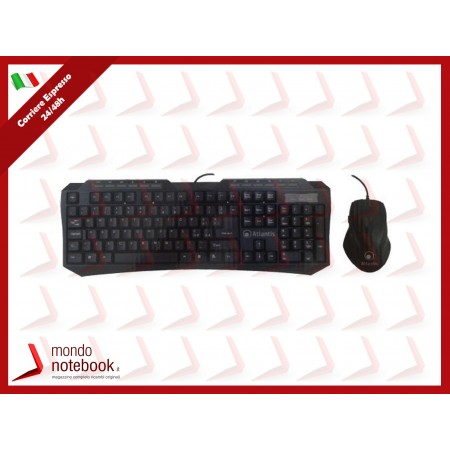 KIT GAMER ATLANTIS P013-K207MK-U TASTIERA USB+MOUSE Ottico USB+6 Tasti multimediali+6...