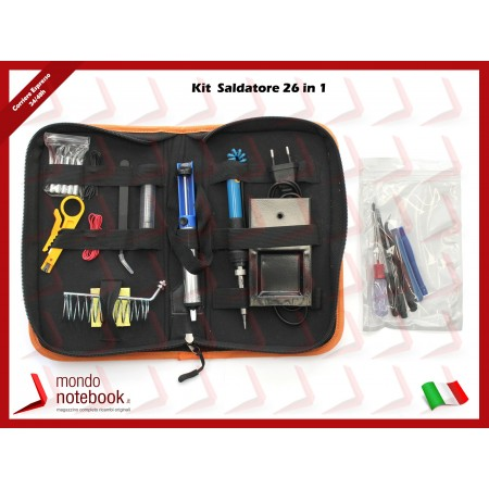 Kit Saldatore 26 in 1 con stagno, pompetta aspirastagno, 6 Punte, Kit disassembly