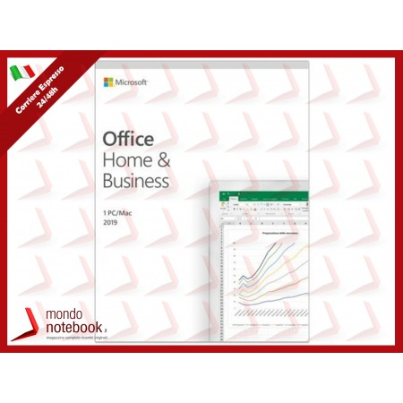 MICROSOFT Office Home and Business 2019 MAC+W10 Italian Eurozone Medialess T5D-03315