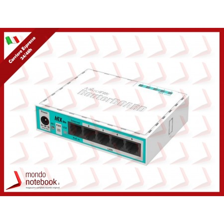 ROUTER MIKROTIK hEX lite with 850MHz CPU, 64MB RAM, 5 LAN ports, RouterOS L4, plastic...