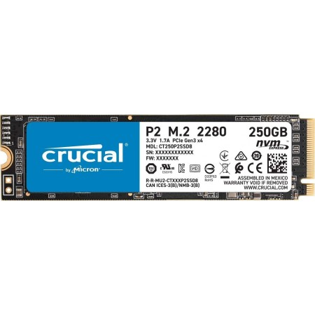 Crucial P2 250 GB CT250P2SSD8 SSD Interne Fino a 2400 MB/s, 3D NAND, NVMe, PCIe, M.2
