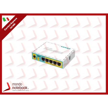 ROUTER MIKROTIK hEX PoE lite with 650MHz CPU,64MB RAM,5xLAN (four withPoE...