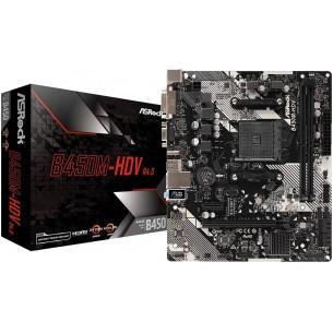 MB ASRock B450M-HDV R4.0 Socket AM4 - B450 - DDR4 - SATA3 USB3.1 M.2 GbE - MicroATX